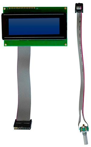 LCD, COB, 4x20 char., STN neg / white LED, custom cable confection x2