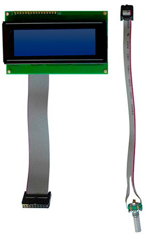 LCD, COB, 4x20 char., STN neg / white LED, custom cable confection x2