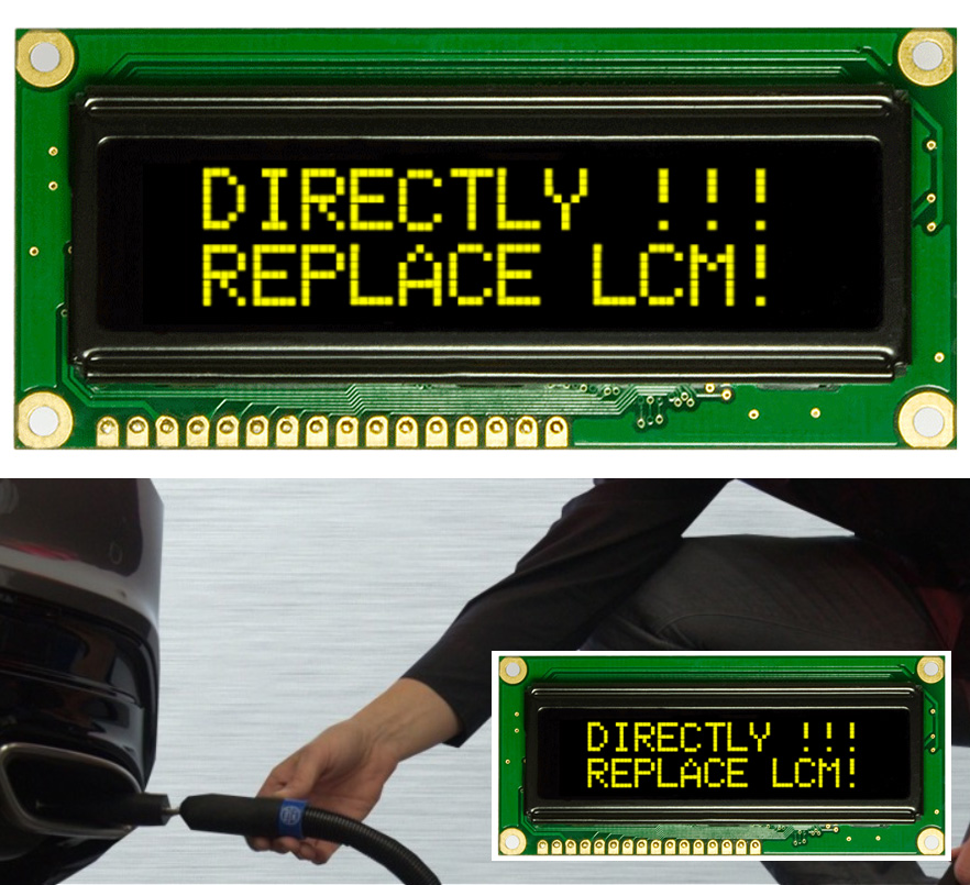 OLED display in exhaust analyser